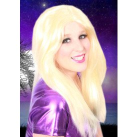 Gigi pruik lang + scheiding blond