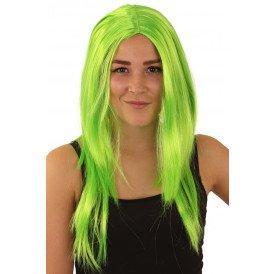 Pruik standaard lang fluor groen