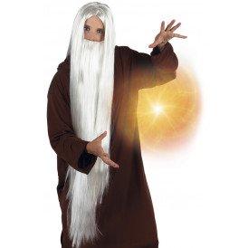 Pruik met baard Wizard wit