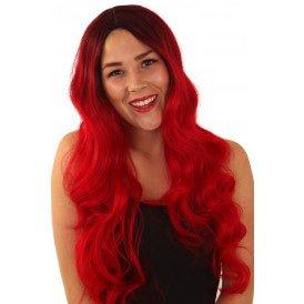 Pruik Faye rood lang haar