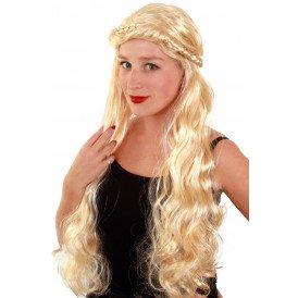 Pruik blonde krullen met vlecht