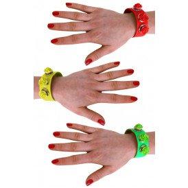 Armband met verwisselbare roosjes ass fluor kleuren