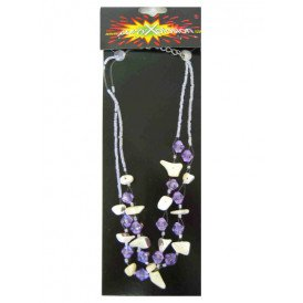 Indianen ketting steentjes paars/wit