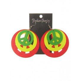 Oorbel rood/geel/groen peace