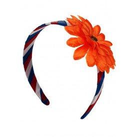 Haarband rood/wit/blauw met oranje bloem