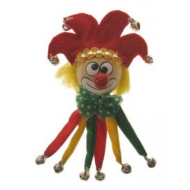Broche clown narrensteek rood/geel/