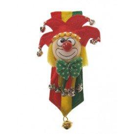 Broche clown rood/geel/groen + banner