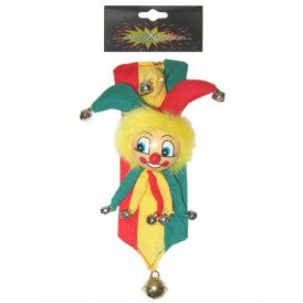 Broche clown met belletjes op banne