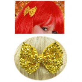 Haarklem strikje bling bling + steentjes goud