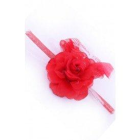 Broche roos met tube en veertjes(speld en haarclip)ROOD/WIT
