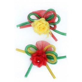 Broche roos met tube en veertjes(speld en haarclip) rood/geel/groen