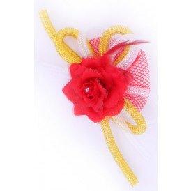 Broche roos met tube en veertjes(speld en haarclip) rood/wit/geel