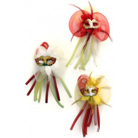 Broche bloem, tubes en oogmasker assorti rood/wit/geel