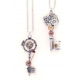 Ketting steampunk sleutels 2 assorti