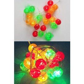 Ledverlichting snoer bolletjes rood/geel/groen 20 lamps