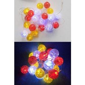 Ledverlichting snoer bolletjes rood/wit/geel 20 lamps