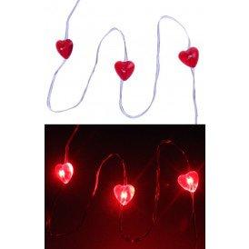 Ledverlichting snoer hartjes rood 20 lamps
