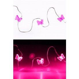 Ledverlichting snoer vlinders pink 20 lamps