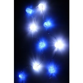 Ledverlichting snoer bolletjes blauw/wit 20 lamps