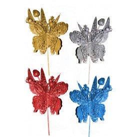 Decoratie vlinder op stokje ass kleuren