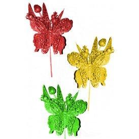 Decoratie vlinder op bloem met stokje rood/geel/groen