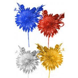 Decoratie bloem op stokje ass kleur