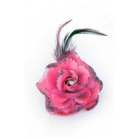 Bloemen op speld/elastiek hot pink