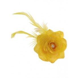 Bloemen op speld/elastiek geel