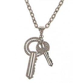 Ketting + 2 sleutels + strass