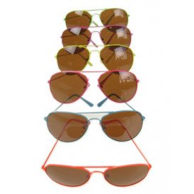Zonnebril/ Pilotenbril fluo frame 6 kleuren ass