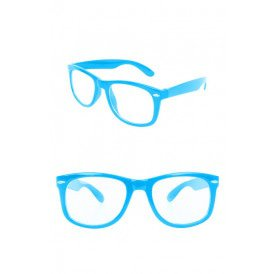 Blues brother bril turquoise met blank glas