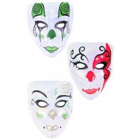 Masker plastic pierrot transparant 3 ass