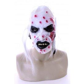 Wit horror masker met haar en bloed 3 assortie