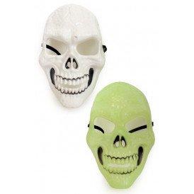 Masker skelet wit en glow in the dark 2 assorti
