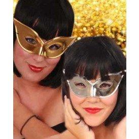 Oogmasker vlindermodel goud/zilver