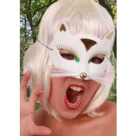 Oogmasker kat luxe wit klein