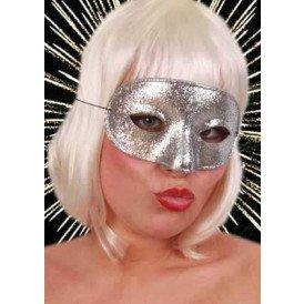 Oogmasker domino glitterzilver
