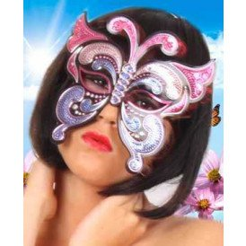 Oogmasker vinyl vlinder met pailletten pink/paars