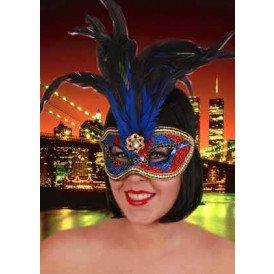 Oogmasker venetiaans de luxe blauw met rood