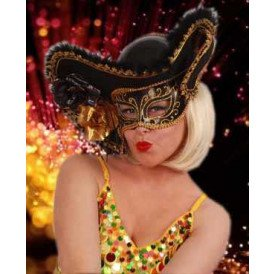 Oogmasker dames venetie zwart+hoed