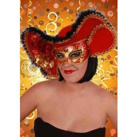 Oogmasker dames venetie rood+hoed