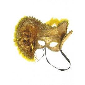 Oogmasker dames venetie goud met hoed