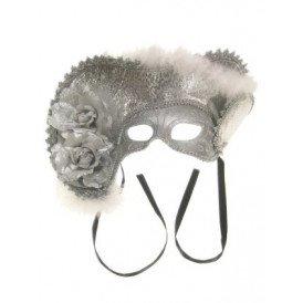 Oogmasker dames venetie zilver met hoed