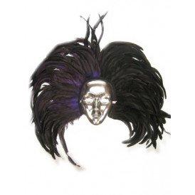 Oogmasker zilver met hoofdtooi zwart