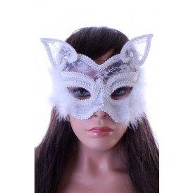 Wit oogmasker met kant en marabou luxe
