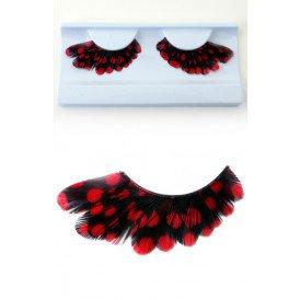Wimpers veertjes zwart met rode stippen