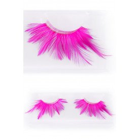 Wimpers veertjes fluor pink