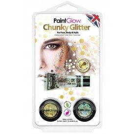 Blister set chunky glitters Sparkle Gold/Silver