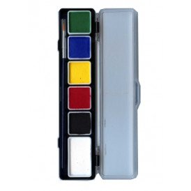 PXP 5 x 3 and 1 x 6 gram essential colours palet with a brush size 2.