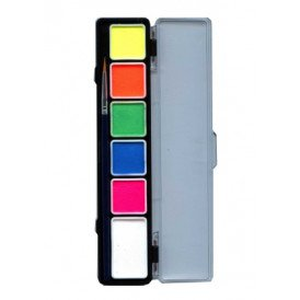PXP Special FX 5 x 3 and 1 x 6 gram neon colours palet with brush size 2